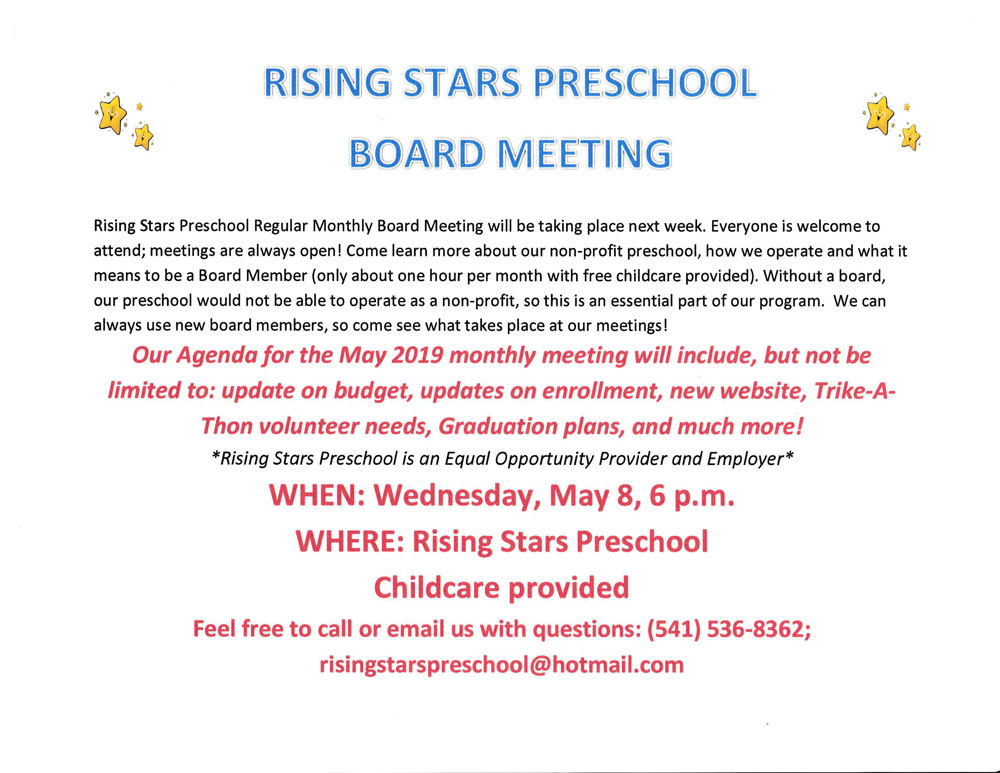RSP May 2019 Board Meeting Notice