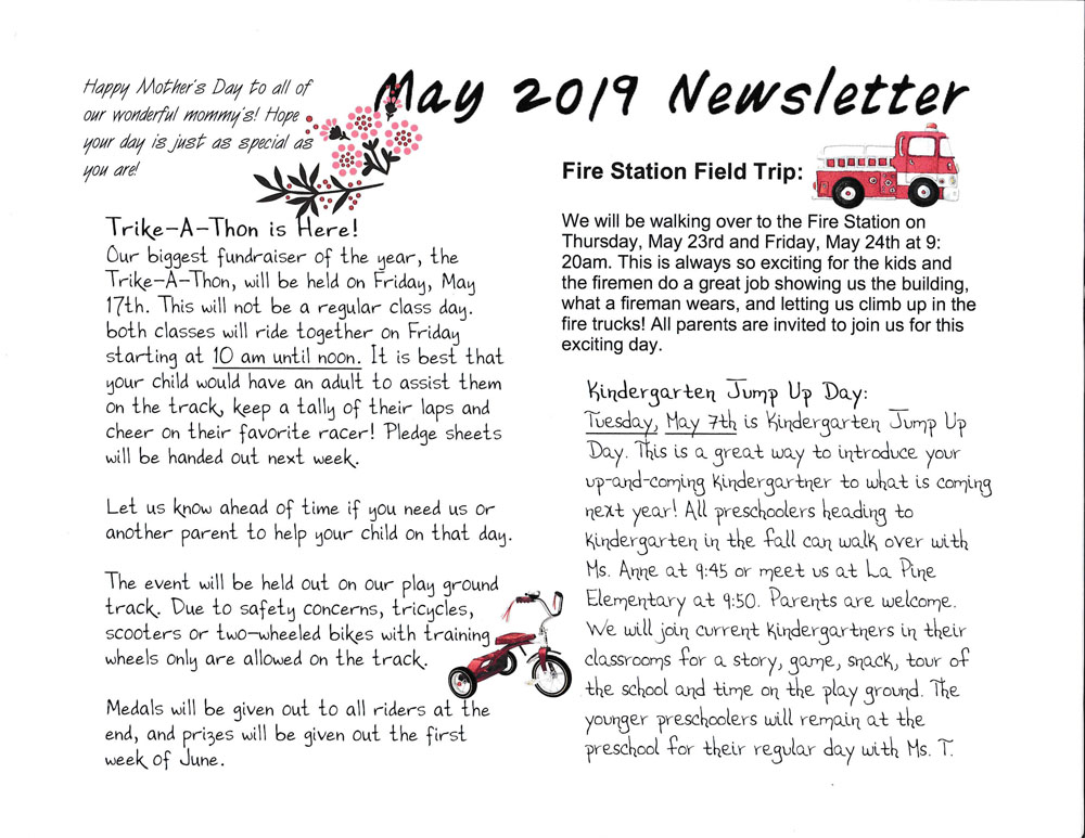 Rising Stars Preschool May 2019 Newsletter