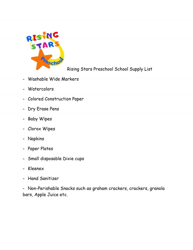 Rising Stars Preschool School Supply List